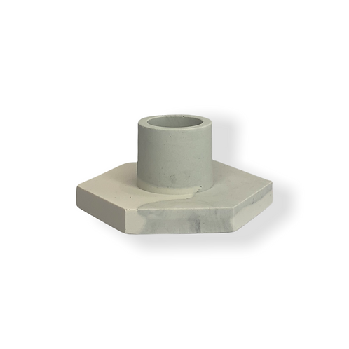 Candle Holder in Grey and White