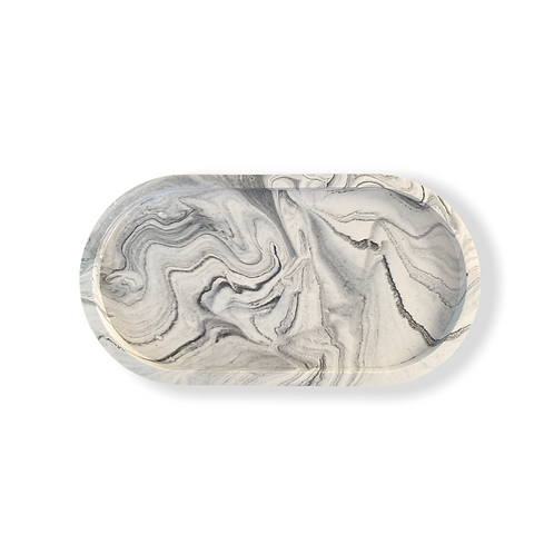 Oval Tray in Intense White Marble