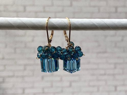 earring, cube, blues