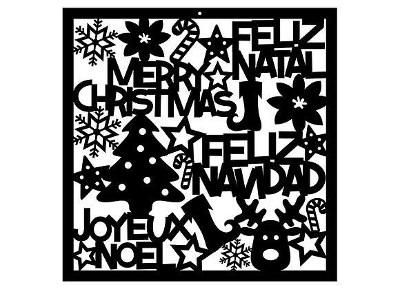Cadre joyeux Noël - Feliz Natal - Merry Christmas - Feliz Navidad