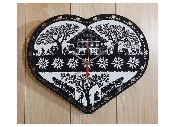 """Horloge """"Coeur edelweiss"""""""
