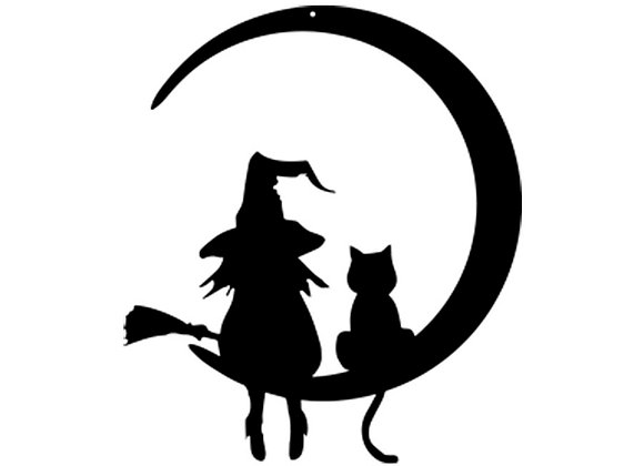 Sorcière et chat assis sur la lune