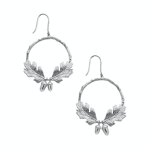 Karen Walker Acorn and Leaf Wreath Earrings Silver - kw343stg