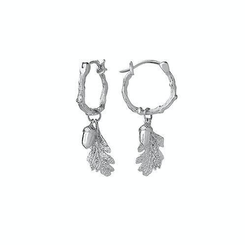Karen Walker Acorn and Leaf Mini Hoop Earrings Silver - kw345stg