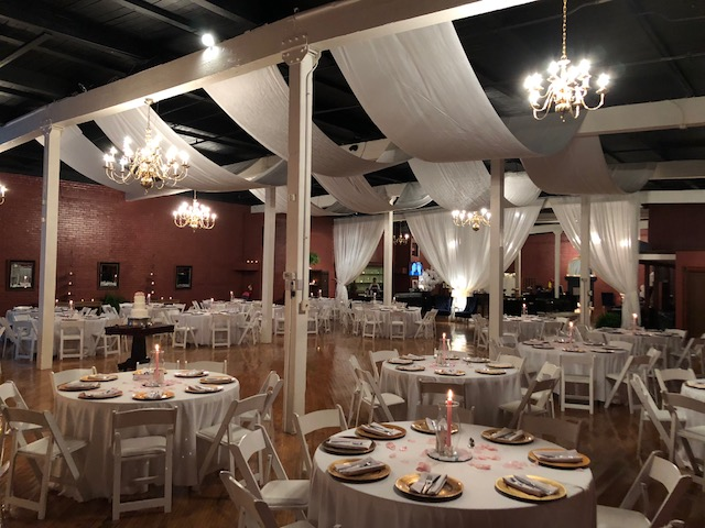 Reception with white drapery