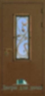 Alt-железная дверь со стеклом и ковкой