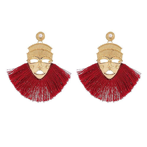Boho Mask Tassel Earrings