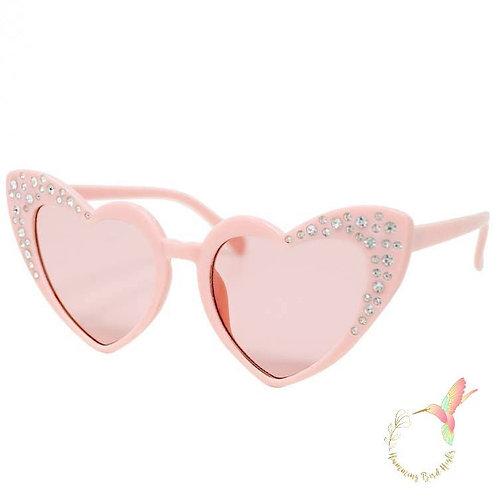 Pink Crystal Heart Sunglasses