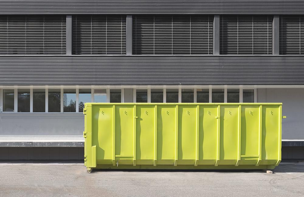 umziehen, container, ausmisten, umzug, neuanfang, gelber container, wohnen,