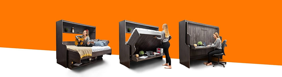 your home office solution; three hidden beds with desks; transitioning from bed to desk