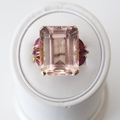 Morganite and Ruby Ring