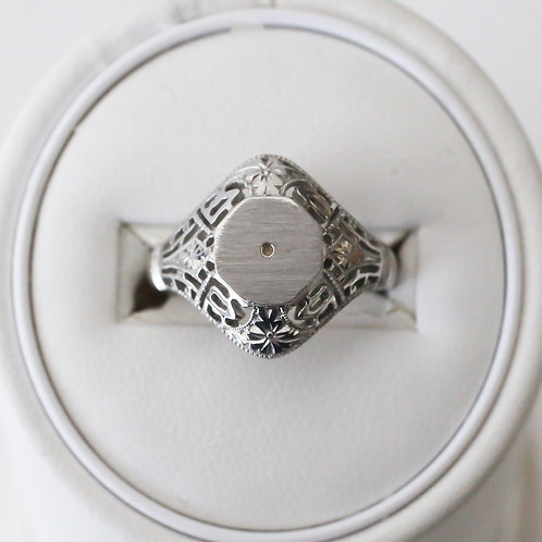 Vintage Style White Gold Ring