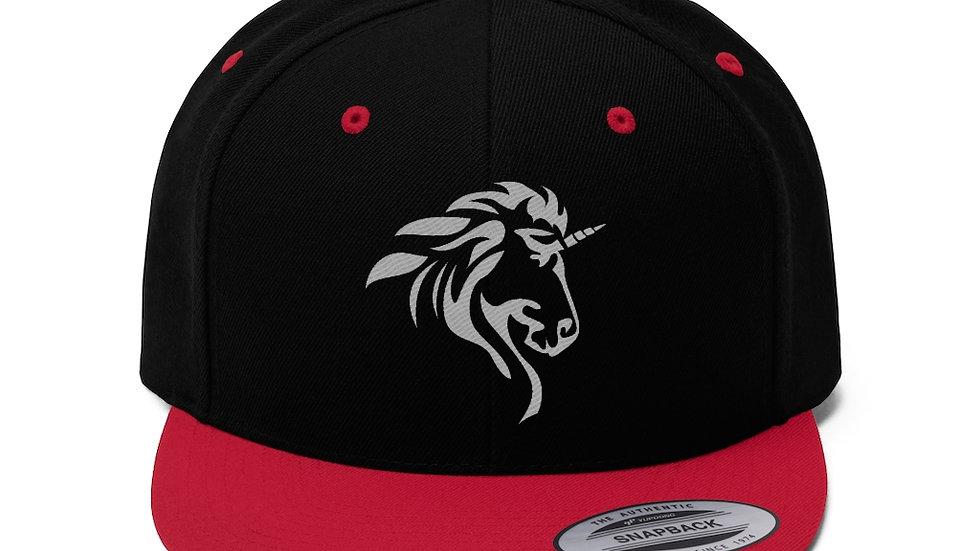 Unisex Flat Bill Hat with Silver Logo