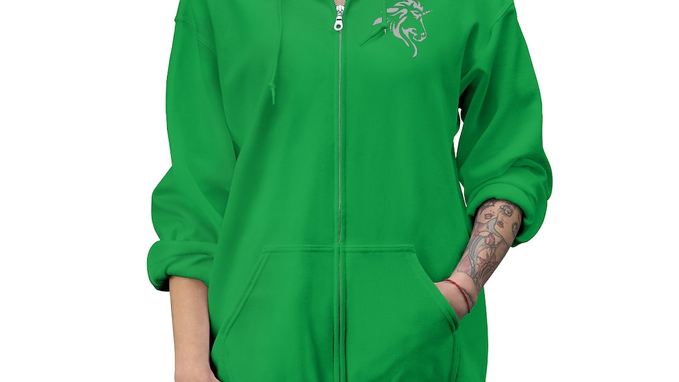 Unisex Zip Up Hoodie with Silver Logo