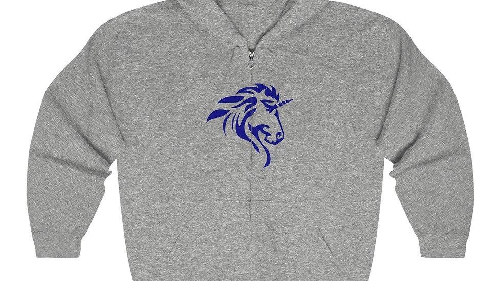 Unisex Heavy Blend™ Full Zip Hooded Sweatshirt with Blue Logo