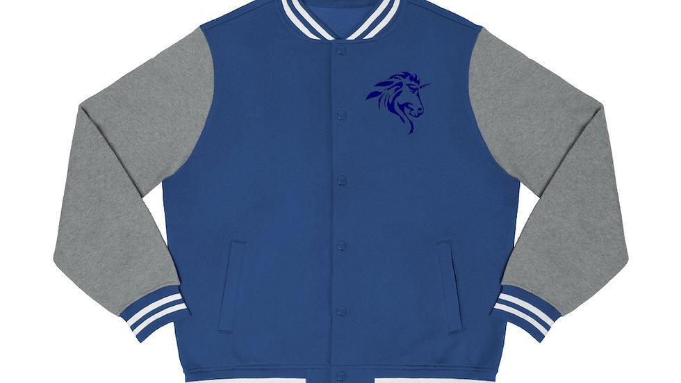 Men's Varsity Jacket with Blue Logo