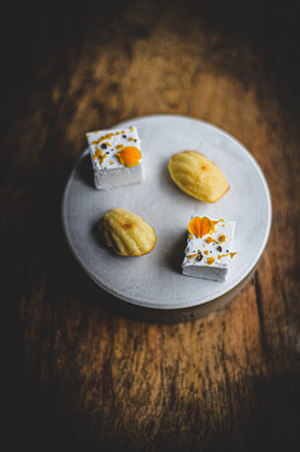 Madeleines, blood orange and Szechuan marshmallows