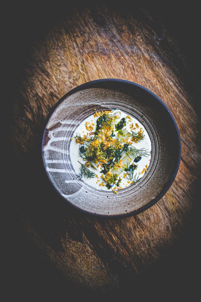 Anjou asparagus, anise, lemon sabayon,