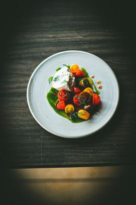 Heritage tomatoes, compressed strawberries, elderberry, mint & burrata