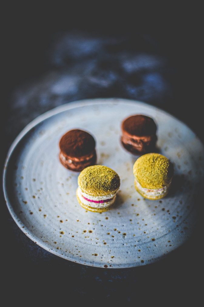 Fennel and juniper + chocolate and miso macaroons