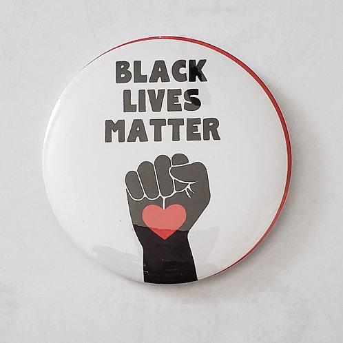 Black Lives Matter heart fist 3in button