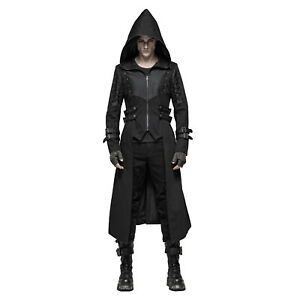 High Popularity of Halloween Gothic Men's Black Jacket With Hood