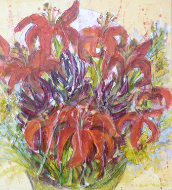 Red Lillies on Wrapper - SOLD