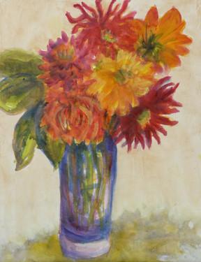 Dahlias in Blue Vase - SOLD