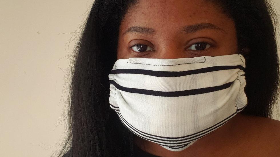"""Mina"" Black and White Print Face Mask"