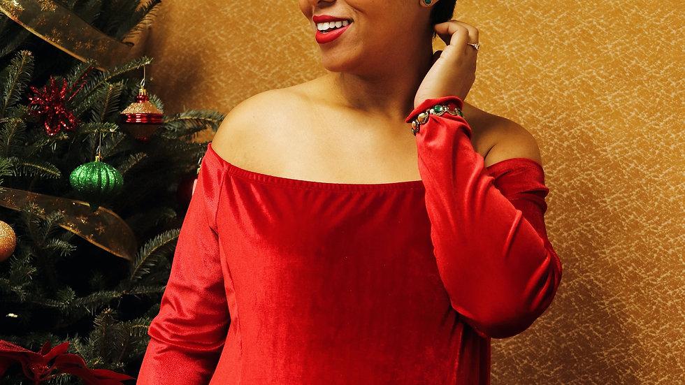 """Velvet """"Sarah"""" Dress""""Festive Red"""""""
