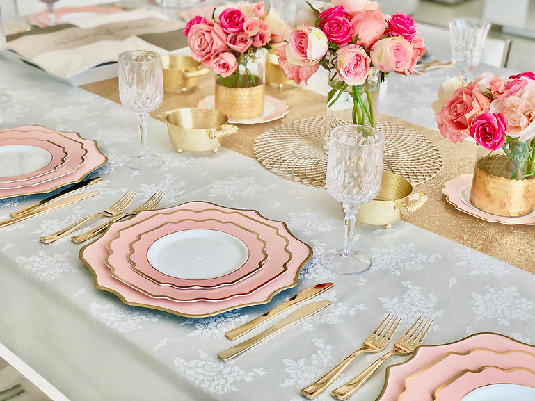 IMPERIAL BLUSH AND GOLD PLASTIC PLATES