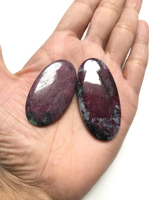 Ruby Gemstone Cabochon 2 Piece Size 55-47 MM Approx