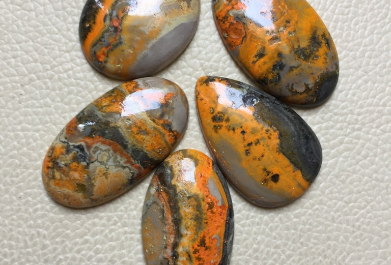Bumble Bee Jasper Cabochon 5 Pieces Size: 37-31 MM Approx