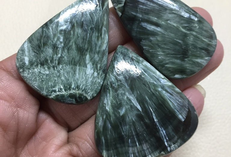 Seraphinite Cabochon 3 Pieces Size:  49-44 MM Approx