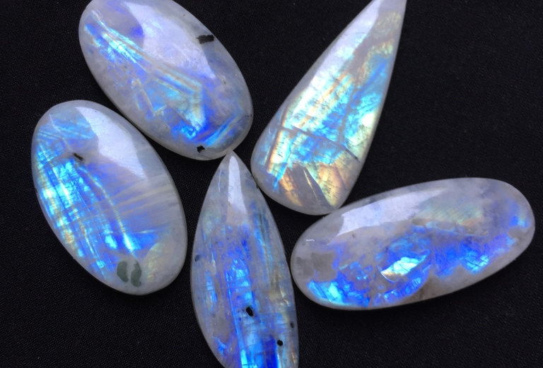 Rainbow Moonstone Cabochon 5 Pieces Size: 50-38 MM Approx