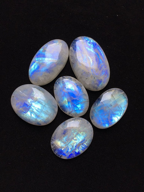 Rainbow Moonstone Cabochon 6 Piece Size: 41-30 MM Approx