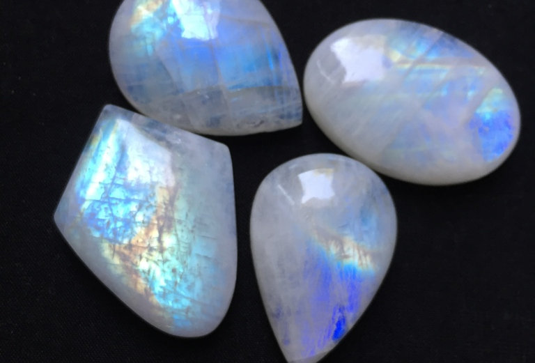 Rainbow Moonstone Cabochon 4 Piece Size: 34-29 MM Approx