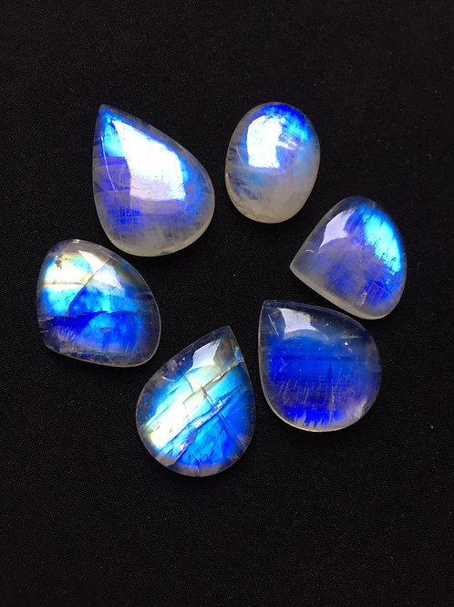 Rainbow Moonstone Cabochon 6 Piece Size 32-22 MM Approx