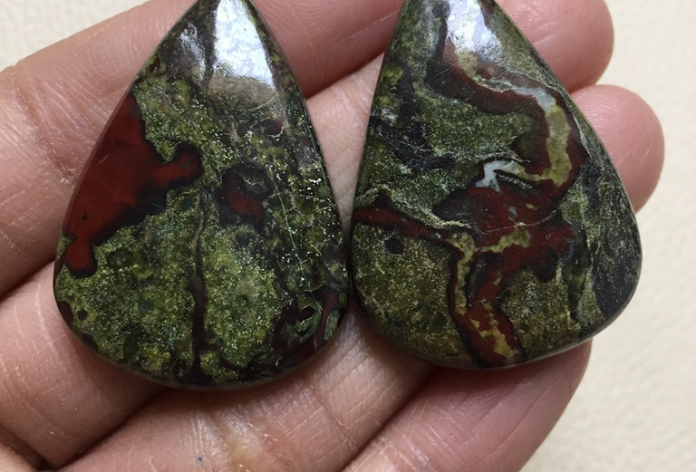 Dragon Jasper Cabochon 2 Pieces Size: 38 MM Approx