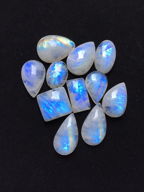 Rainbow Moonstone Cabochon 11 Piece Size 27-20 MM Approx