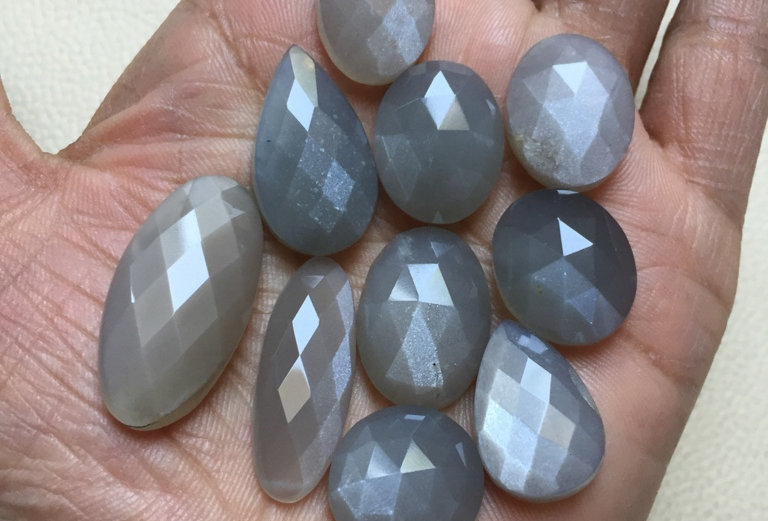 Grey Moonstone Cabochon 10 Pieces Size: 32-17 MM Approx