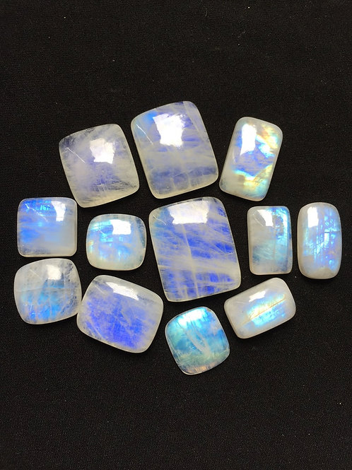 Rainbow Moonstone Cabochon 12 Piece Size: 33-20 MM Approx