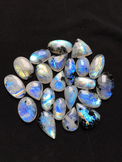 Rainbow Moonstone Cabochon 22 Piece Size: 29-19 MM Approx