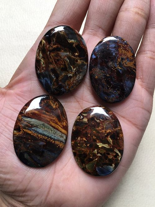 Pietersite Cabochons 4 Pieces Size 38-37 MM Approx