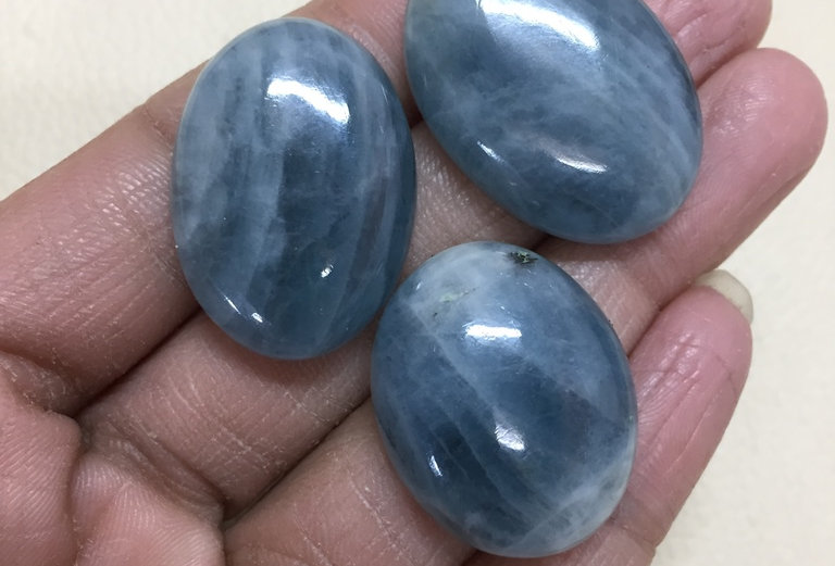 Aquamarine Cabochon 3 Piece Size: 32-27 MM Approx
