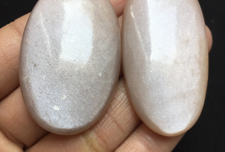 Moonstone Cabochon 2 Pieces Size: 52-46 MM Approx