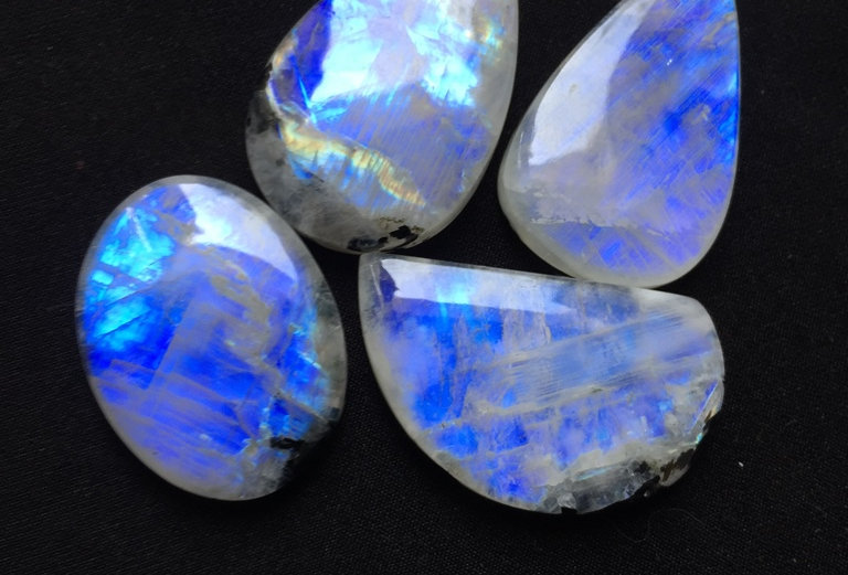 Rainbow Moonstone Cabochon 4 Piece Size: 39-32 MM Approx