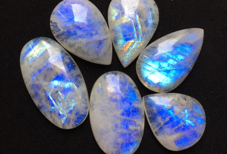 Rainbow Moonstone Cabochon 6 Pieces Size: 38-27 MM Approx