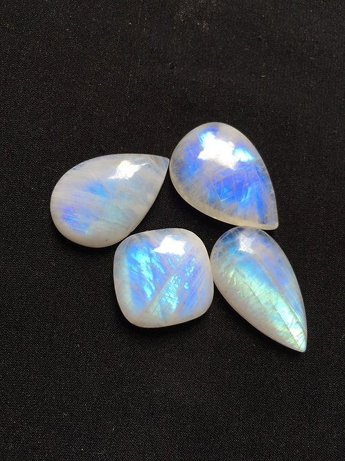 Rainbow Moonstone Cabochon 4 Piece Size: 33-23 MM Approx