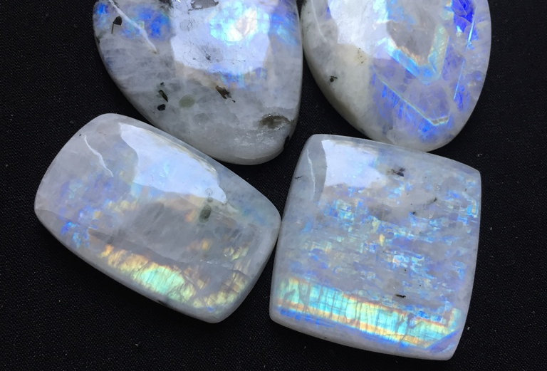 Rainbow Moonstone Cabochon 4 Piece Size: 40-32 MM Approx